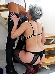 Grey-haired hottie ambushing a shy youngster