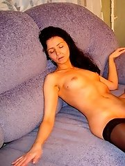 Dropdead gorgeous mature pussy fucks a lucky youngster on the couch