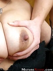 Blonde boy undressed Amy and pet her huge tits.