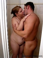 MILF knew her young lover was in bathroom and hurried to blow him and then sit on his huge man tool