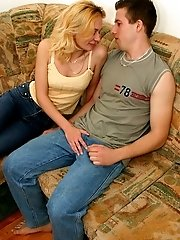 Hot naughty MILF deepthroats her younger lover